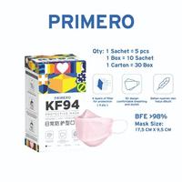 Primero Masker KF94 4Ply Soft Pink (1 Box @ 50 Pcs)