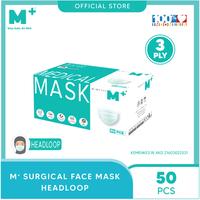 M+ Masker Medis Headloop 3 Ply (50 Pcs)