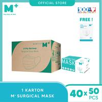 M+ Masker Medis Surgical Earloop 3Ply (1 Karton) - FREE 1 Box Masker KN95