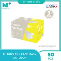 M+ Masker Duckbill Earloop 3 Ply - Duckbill Face Mask (50 Pcs)