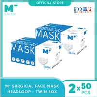 M+ Masker Medis Headloop 3 Ply (50 Pcs) - Putih - Paket 2 Box