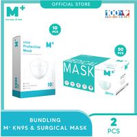 M+ Masker KN95 (10 Pcs) & Masker Medis Earloop (50 Pcs) - Bundling