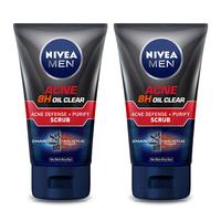 NIVEA MEN Acne 8H Oil Clear Acne + Purify Scrub 100 ml - Twin Pack