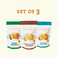 Casa Grata Crackers Set of 3 - 1 Sesame & Chia, 1 Sea Salt, dan 1 Herbs