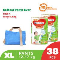 Huggies Gold Pants Popok Celana XL 38 - 2 Pack Free Diaper Bag