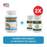 Lifepharm Glomega 90 Softgel + (2 Pack Enervita Pro Digest 30 Tablet)