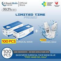 BasicMeds Surgical Mask Earloop 3 Ply (2 Box @ 50 Pcs) + Free Handgel 60 ml