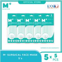 M+ Masker Medis Earloop 3 Ply Hijau (5 Pcs) - Paket 5 Sachet