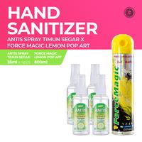 Antis Spray Timun 4 x 55 mL & Force Magic Lemon Pop Art 600 mL