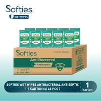 Softies Wet Wipes Antibacterial Antiseptic 20s - 1 Carton
