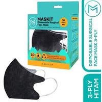 Maskit Masker Duckbill Earloop Dewasa 4Ply - Dark Series -  Hitam (10 Pcs)