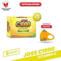 Joss C1000 Vitamin C 3 Pack (18 Sachet) FREE Masker