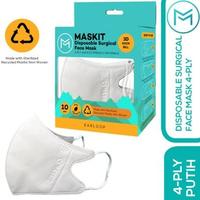 Maskit Masker Duckbill Earloop Dewasa 4Ply - Putih (10 Pcs)