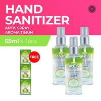 Antis Spray Timun 55 mL x 3 - Free Antis Sachet 24 mL x 3