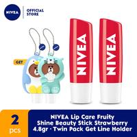 NIVEA Lip Care Fruity Shine Beauty Stick Strawberry 4.8 g - Twin Pack
