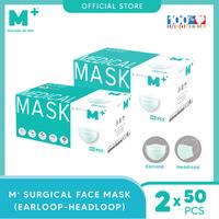 M+ Masker Medis Earloop (50 Pcs) & Headloop (50 Pcs) - Bundling