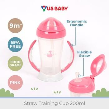 US Baby Straw Training Cup 200 ml - Pink harga terbaik 179000