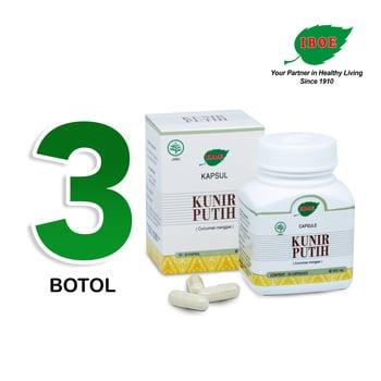 Jamu IBOE - 3 Botol Kunir Putih Herbal Supplement 30 Kapsul